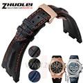 Para Audemars 28mm negro | azul 100% Hechos A Mano de Cuero Genuino Reloj de Correa de La Banda con hebilla desplegable de acero Para AP para Piguet