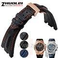 Para Audemars 28mm preto | azul 100% Artesanal De Couro Genuíno Watch Band Cinta com fivela de implantação de aço Para AP para Piguet