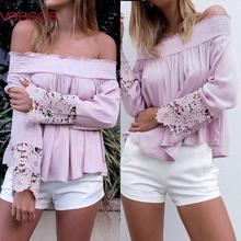 Women Female Summer Sexy Lacework Off-Shoulder Long Sleeve Top Ruffled Solid Blouses Purple S/M/L/XL Blusas Y Camisas Mujer