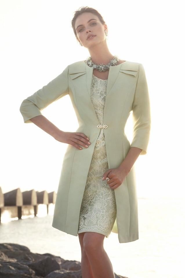 Plus Size Janique Knee Length Mother Of The Groom Bride Dresses Suits Party Dress With Bolero Jackets Vestido De Festa Curto
