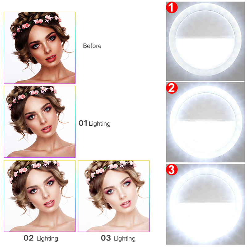 Universal Selfie Flash Light Up Luminous Phone Ring For Iphone 7 8 Plus X For Samsung Xiaomi Huawei Oneplus Phone light Case