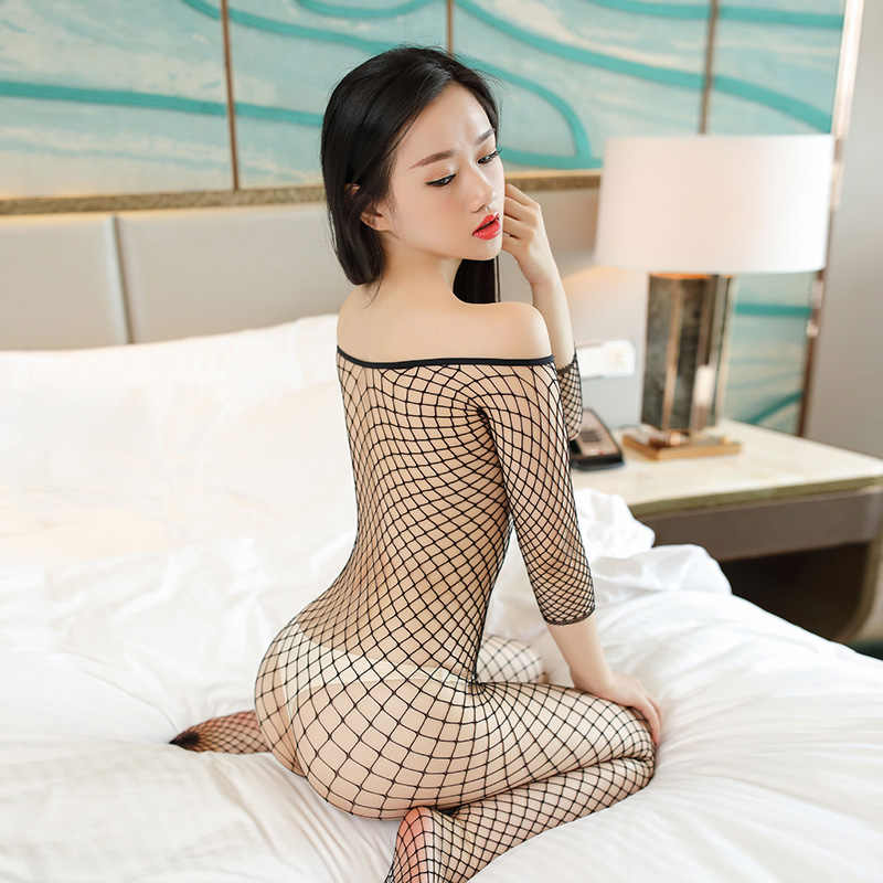 11bd5b13cf ... 2017 New Sexy Black Large Grid Fishnet Bodustocking For Women Open  Crotch Tights Pantyhose Shoulder Strap ...