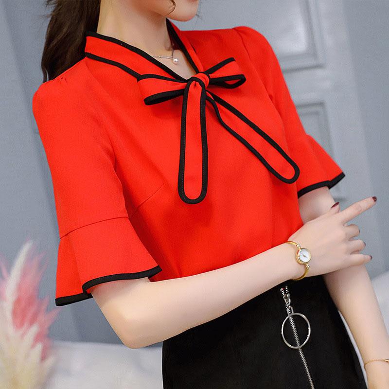 2018 Tops Summer Top Blouse Clothes Women Casual Tops Short Sleeve Chiffon Blouses Shirt Bow Back O-neck Blusas Feminina DF1450