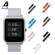 Купить с кэшбэком Color Amazfit Bip smart Watch Strap on Amazfit Bip Strap Shoulder Smart Watch Silicone Strap Waterproof Replacement Smart Watch