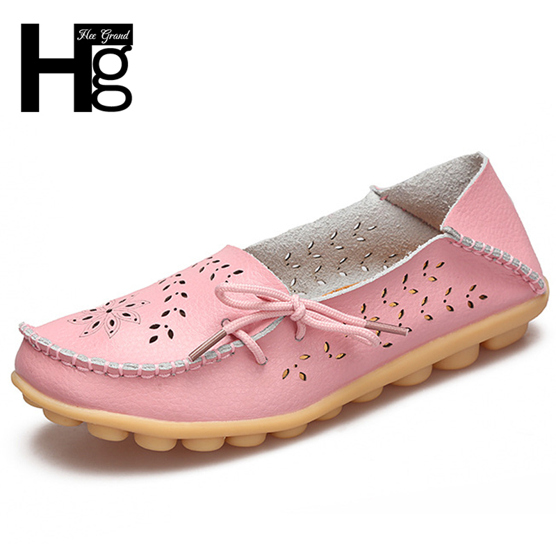 HEE GRAND 2018 New Women Flat Shoes Artificial Leather Causal Cut outs Drive Shoes Female Spring Summer Flats XWD3856