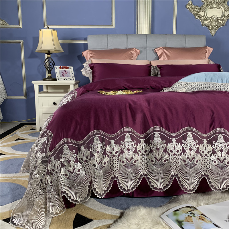 New Luxury purple Light Green Lace Bedding Set Silk Cotton Duvet Cover 100S Egyptian cotton Bed Sheet Linen Pillowcases 4pcs