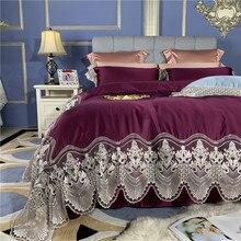 New Luxury purple Light Green Lace Bedding Set Silk Cotton Duvet Cover 100S Egyptian cotton Bed Sheet Linen Pillowcases 4pcs