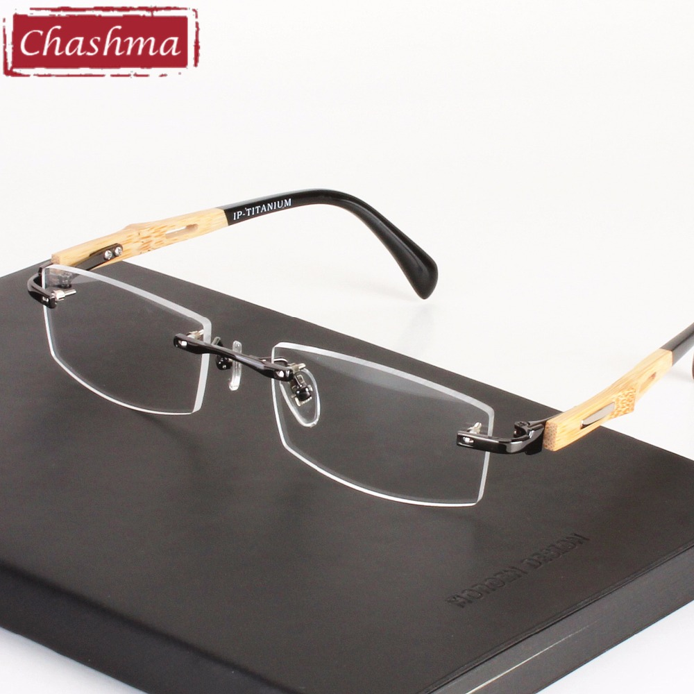 Chashma Brand Healthy Eyeglasses Trend Optical Frame Pure Titanium Eye Glasses Rimless Bamboo Wood Glasses Frames