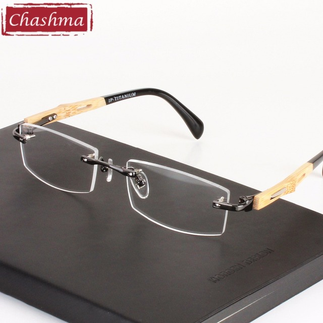 8811ad21a9 Chashma Brand Healthy Eyeglasses Trend Optical Frame Pure Titanium Eye  Glasses Rimless Bamboo Wood Glasses Frames