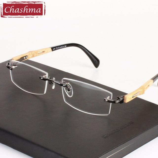 8811ad21a9 Chashma Brand Healthy Eyeglasses Trend Optical Frame Pure Titanium Eye  Glasses Rimless Bamboo Wood Glasses Frames