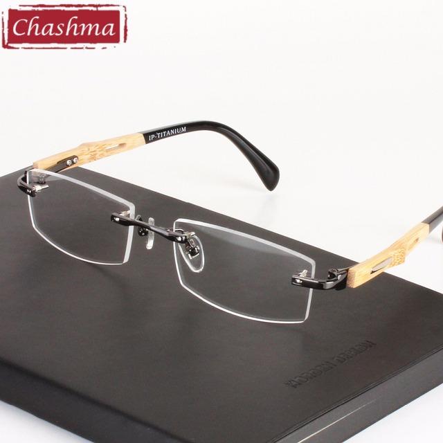 Chashma marca frame ótico de óculos tendência saudável pure titanium sem aro óculos armações de óculos de madeira de bambu homens e mulheres