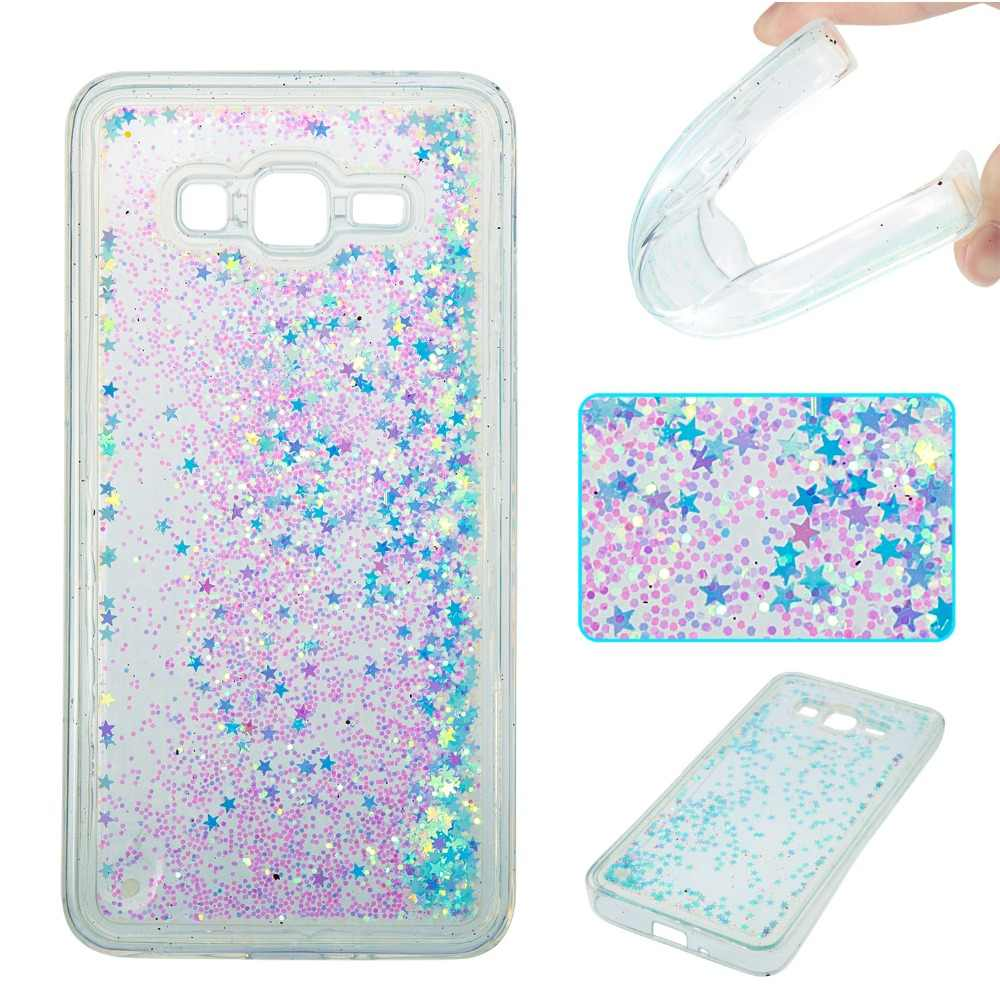 Case For Samsung Galaxy Grand Prime G530 Cover Bling Transparent Liquid Glitter Paillette Quicksand Soft TPU Case capa kimTHmall