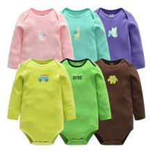 Baby Body noworodek Odzież bawełna Baby Girls ubrania Toddler Boys playsuit kombinezon długi rękaw niemowlę strój ropa para Bebe tanie tanio Dziecko Bodysuits O-Neck Unisex Flying Whales Moda Kreskówki Pasuje do rozmiaru Weź swój normalny rozmiar Pełne Baby bodysuit