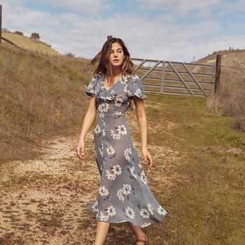 4e57d7d5468 С оборками и цветочным принтом Элегантные мини-платье Для женщин 2019 летние  шорты рукавом сексуальное платье Повседневное отпуск пляжное пл.