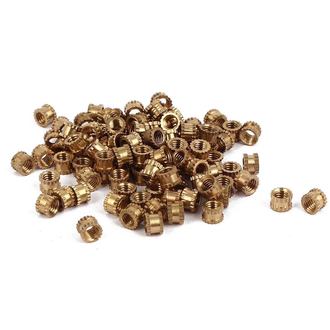 Hot sale M3 x 3mm Female Thread Brass Knurled Threaded Insert Embedment Nuts 100PCS