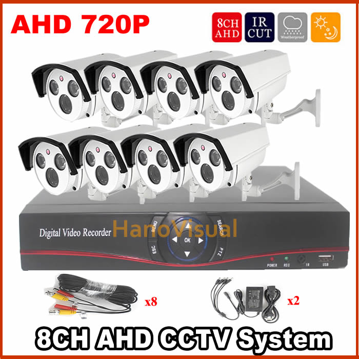 8Channel 720P AHD DVR Kit Bullet CCTV Camera System 1Mega pixel AHD Camera System Outdoor Security Kit DVR Sets 8CH Video System