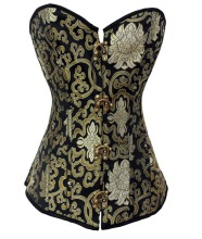 Vintage Court Black and Light Green Print Corset