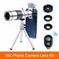 2017 Clips Universal 18X Zoom Telescópio Lente Teleobjetiva Olho de Peixe Grande ângulo lentes lentes macro para o seu telefone para iphone meizu lg