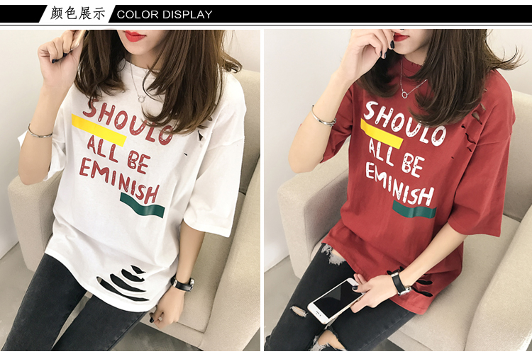 XL- 4XL 2019 new plus size summer loose High Street hole Letter print short sleeve O-Neck women T-shirt top tee TY5 8