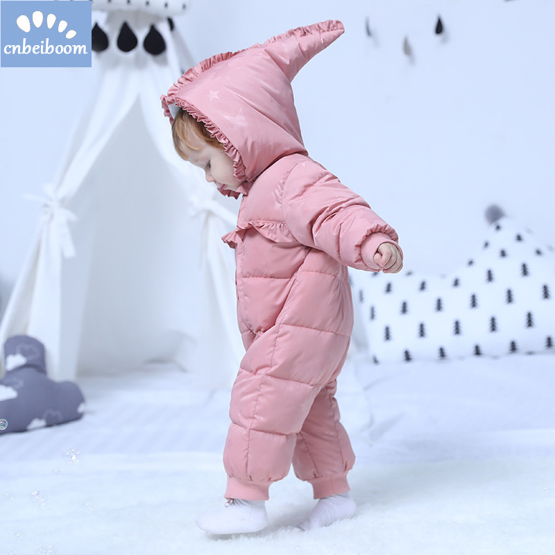 все цены на 2018 Baby Winter romper Clothing Warm Hooded Down cotton Baby Rompers Newborn Baby Boy Girl Jumpsuits Children Snowsuit Clothes онлайн