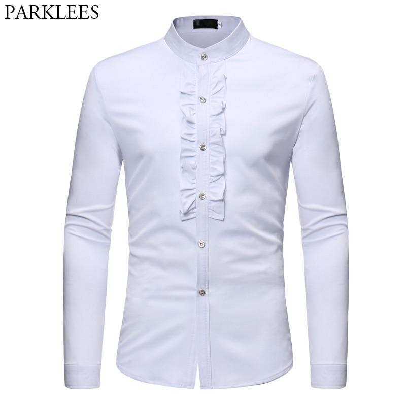 Hommes Col montant Chemise Blanche 2018 Brand New Slim Fit Manches Longues Chemise Homme Casual Partie De Mariage Smoking Robe Chemises mâle
