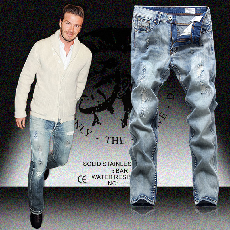 Fashion brand designer denim pants ripped destroyed jeans Men Straight Printed Jeans loose frayed harem - Shenzhen Kingdom Sports Store store