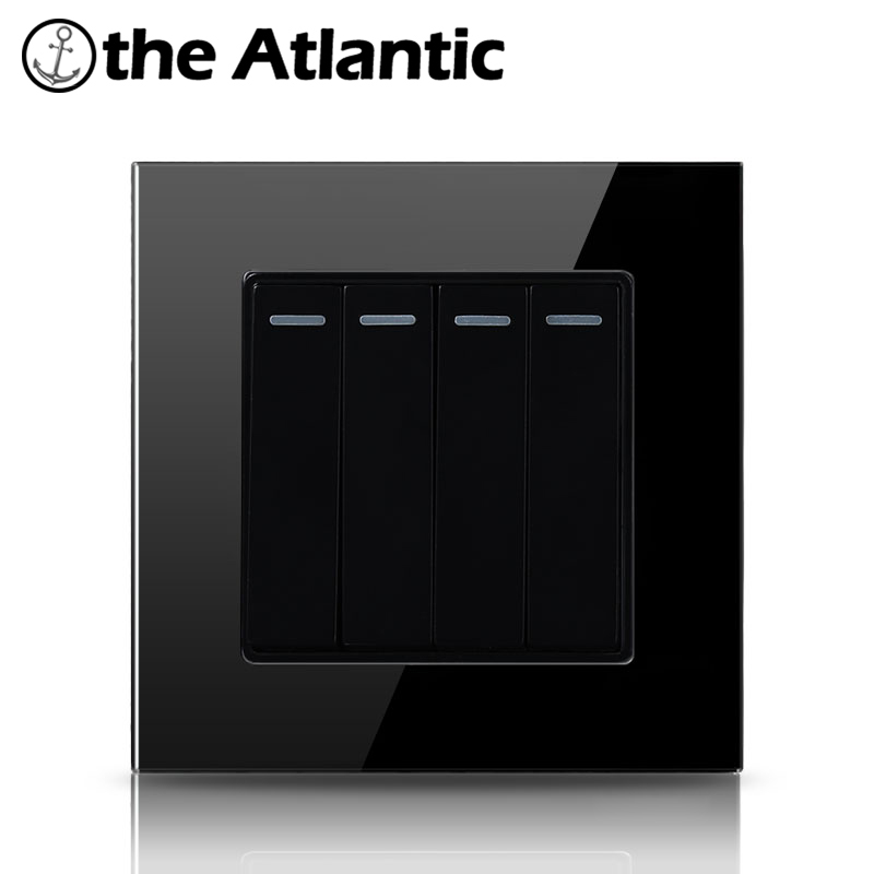 Atlantic 4 Gang 2 Way Crystal Tempered Glass Push Button 16A Light 4 kind of Color Wall Switch  Universal UK EU Standard палатка сплав atlantic 4 цвет зеленый