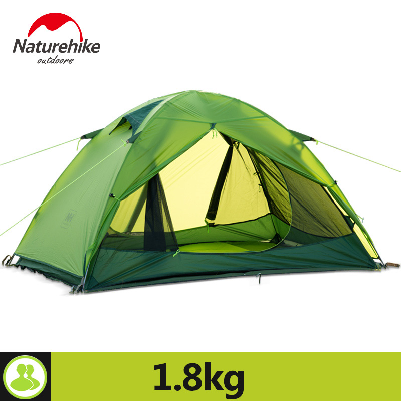 Naturehike Lightweight Camping Tent 2 Person Portable Rainproof Double Layer Outdoor 2 Colors Camp Durable Gear Picnic Tent naturehike new arrival tent camping 2 person waterproof double layer outdoors camping durable gear picnic tents green grey