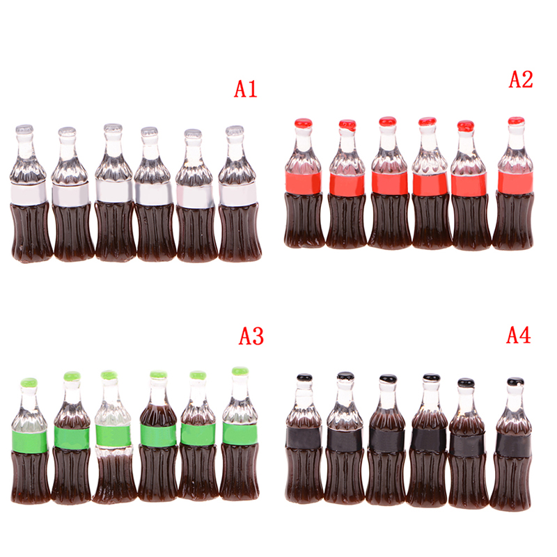 Realistic 6pcs Resin Plasticine Slime Diy Accessories Bead Making Supplies For Dollhouse Figurine Craft Miniature Slime Charms Cola Bottle Home