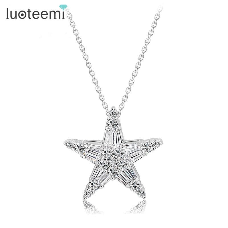 LUOTEEMI 2015 Newest Luxury AAA White CZ Crystal Star Pendan
