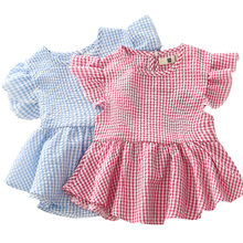Children's Clothing 2016 The New Summer Girls' Cotton Plaid Dress Female Baby Loose Petal Sleeve O-neck Pleated Blouse Dress