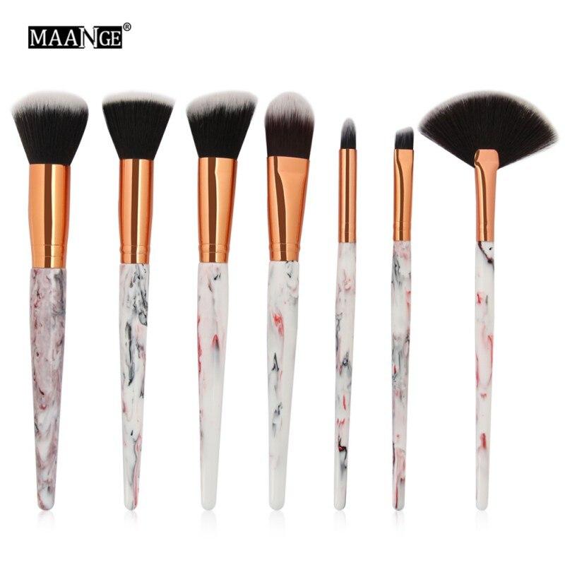 MAANGE 7Pcs Marble Texture Makeup Brushes Tool Kit Foundatin Powder Eye Shadow Contour Blush Cosmetic Marbling Fan Brush H8