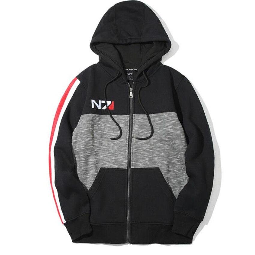 Высокое качество Игра Mass Effect Толстовки кофты Косплэй флис костюмы N7 пальто с капюшоном