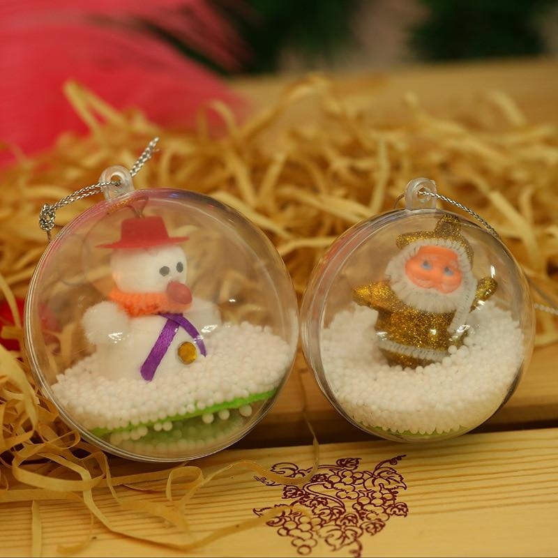 20pcs 10cm Christmas Tress Hanging Decorations Ball Transparent Open Plastic Clear Ornament Kids Favors Party Supplies