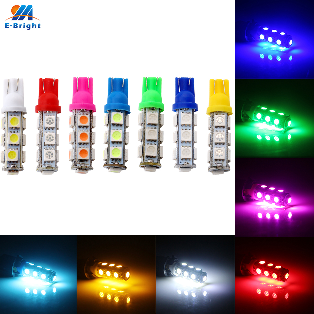 YM E-Bright 12V DC <font><b>10</b></font> PCS T10 <font><b>5050</b></font> 13 SMD 194 168 W5W Car Interior LED Bulbs White Blue Red Green Amber Automobile Led Lights image