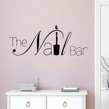 The Nail Bar Logo Wall Window Sticker Manicure Design Wall Decal Removable Nail Art Wall Poster Beauty Salon Window Decor AY1619(China)