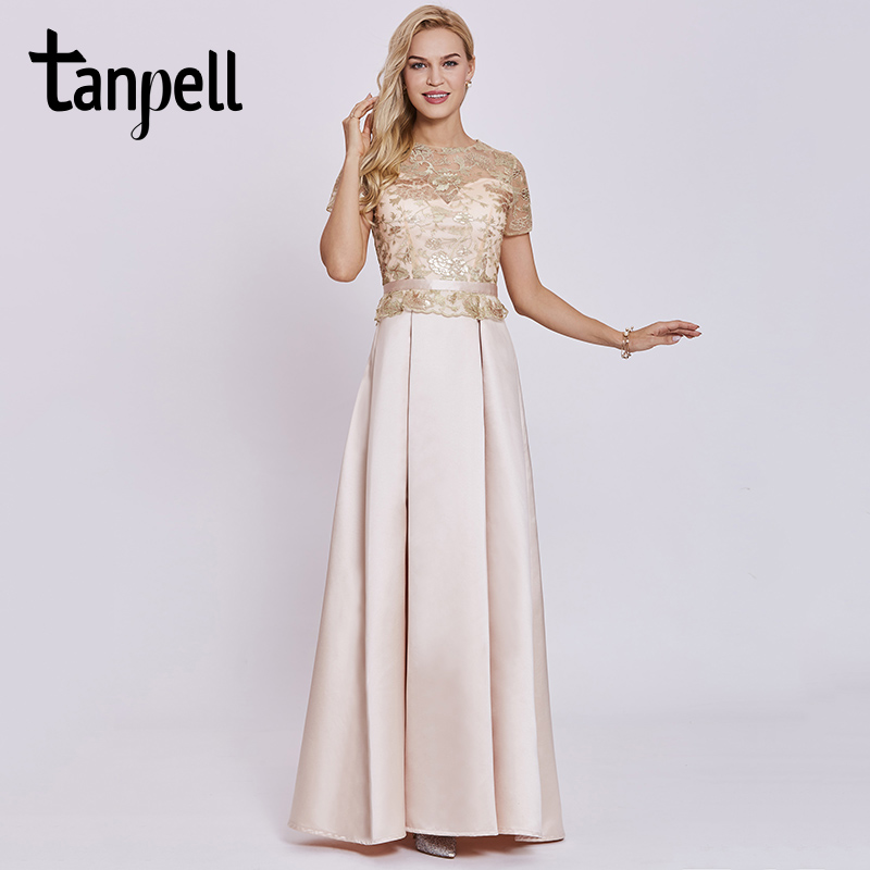 Tanpell embroidery   evening     dress   champagne short sleeves floor length a line gown women sequins prom long formal   evening     dresses