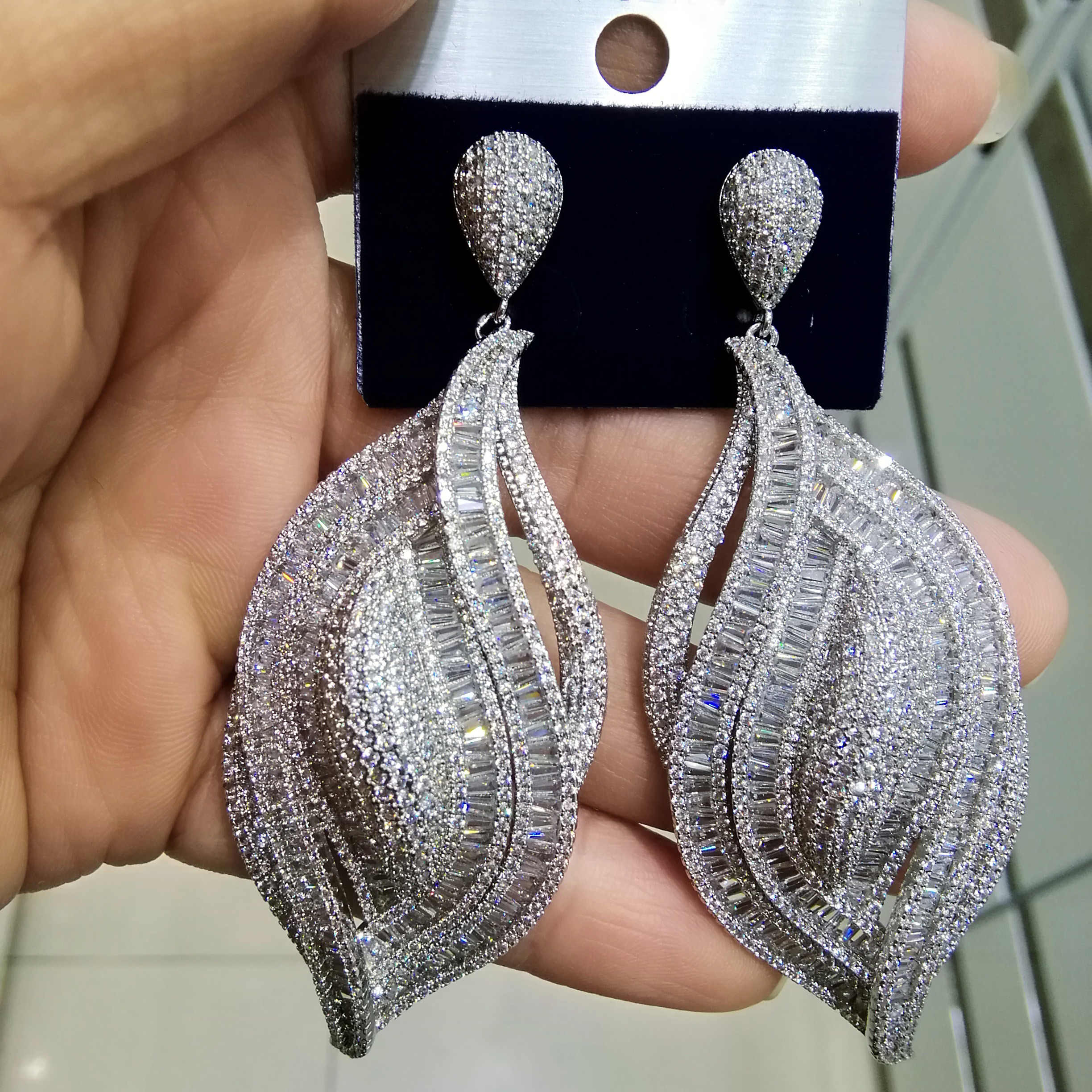 GODKI Luxury Cubic Zircon Crystal CZ Nigerian Long Dangle Earring For Women African Bridal Earring aretes de mujer modernos 2018