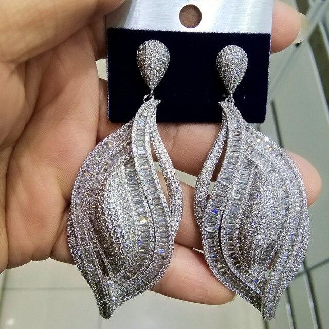 GODKI Luxury Cubic Zircon Crystal CZ Nigerian Long Dangle Earring For Women African Bridal Earring aretes de mujer modernos 2018