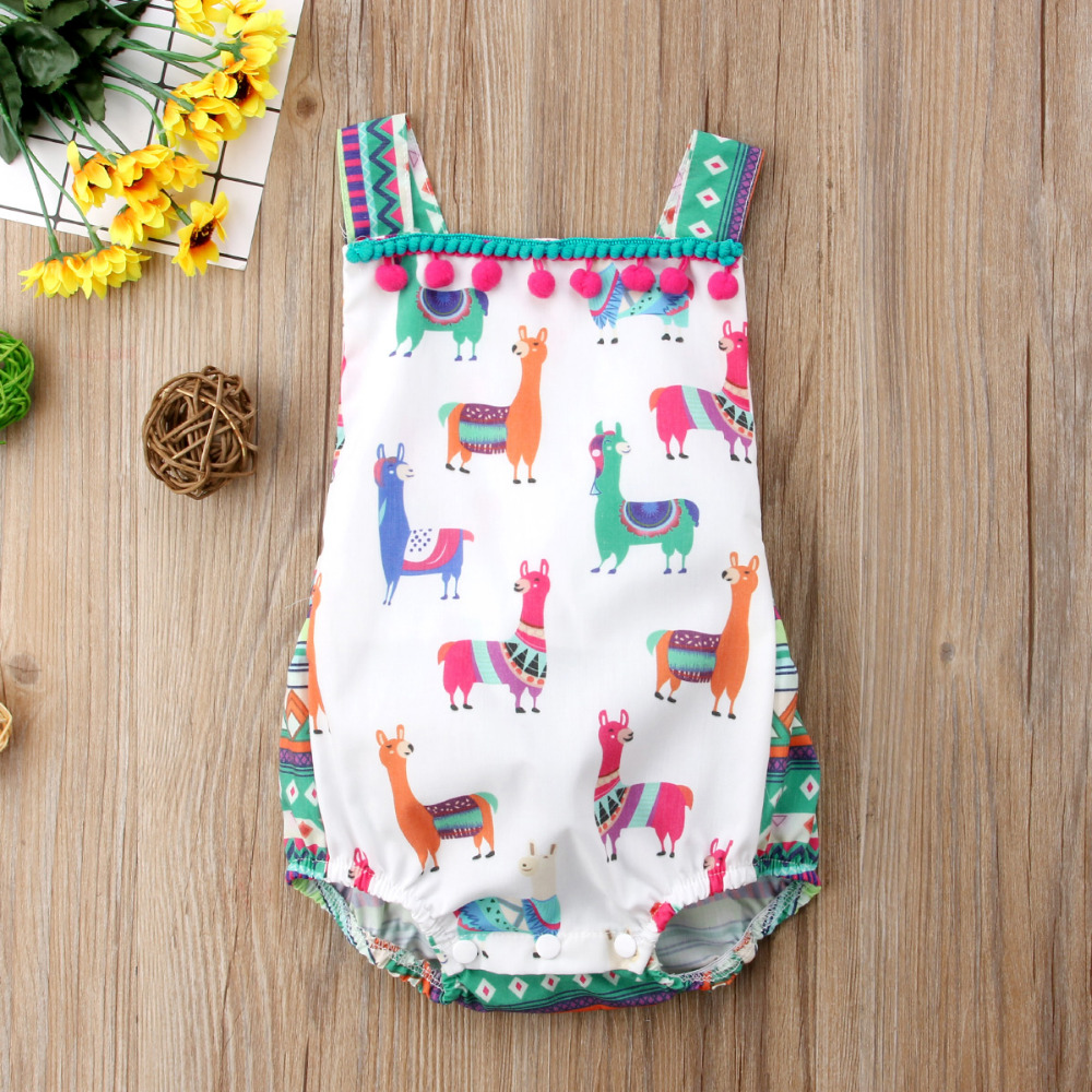 JOYINPARTY Summer Cute Princess Baby Girls sheep Tassel Romper Jumpsuit One Pieces Outfits Sunsuit Children Clothes 0-24M