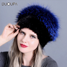DUOUPA New Style  Sale Winter Warm Real Mink Fur Cap For Women Natural Hats Vertical Weaving With Fluffy Fox On The Top