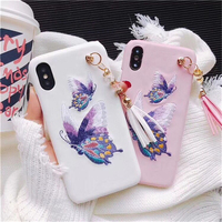 Chinese Traditional Embriodery Colorful Butterfly Mobile Phone Cases For IPhone7 7Plus Fringe Vintage Protective Shell Coque