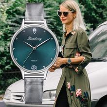 Luksusowe kobiety zielony Dial bransoletka zegar kwarcowy moda metal srebrny pasek moda Creative Dress zegarki dla kobiet prezent tanie tanio Quartz 22cm Stopu Okrągłe No waterproof 31mm 10mm Szklane Fashion Casual A1XR2998 LVPAI Klamra Brak No package