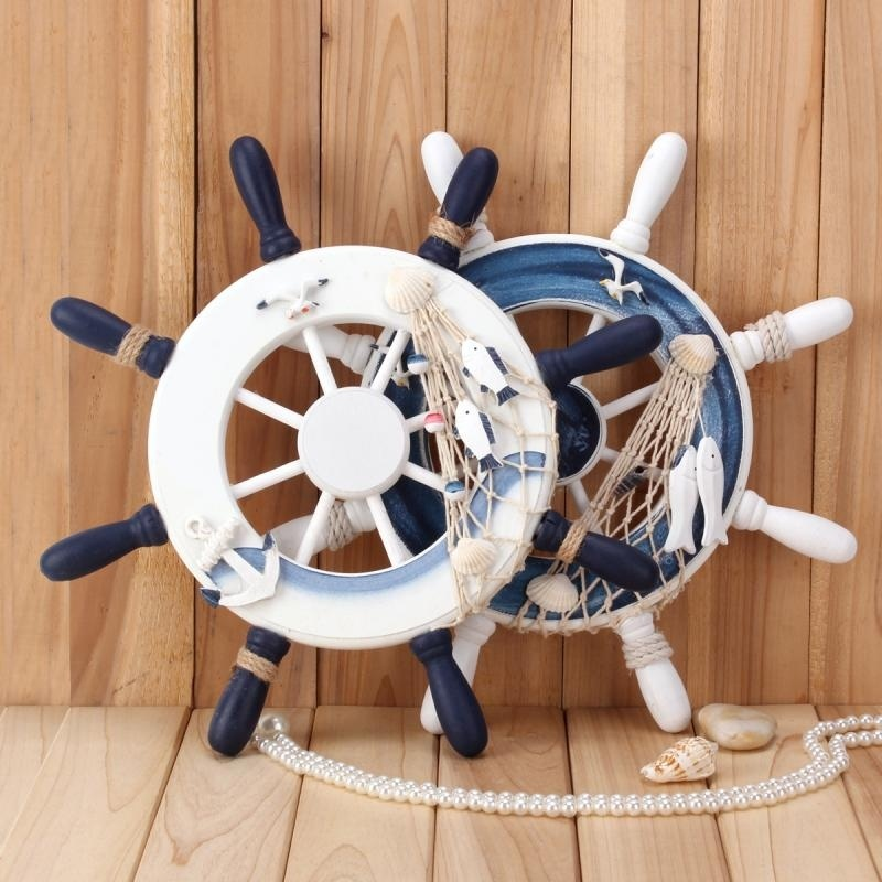 33*33cm Wall Hanging Rudder Wooden Steering Wheel <font><b>Nautical</b></font> Hanging Ornament Sea Ocean Charms <font><b>Nautical</b></font> Wall <font><b>Decoration</b></font>