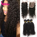 7A Malaysian Deep Wave Curly Virgin Hair With Closure,4*4 Lace closure With Human Hair 3/4 Bundles Deep Curly,3/free/middle part