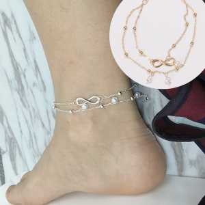 1 sztuk 2017 nowych moda kobiety podwójny łańcuszek na kostkę Anklet bransoletka na kostkę Sexy Barefoot sandał plaża stóp idealny prezent obrączki dla Wom