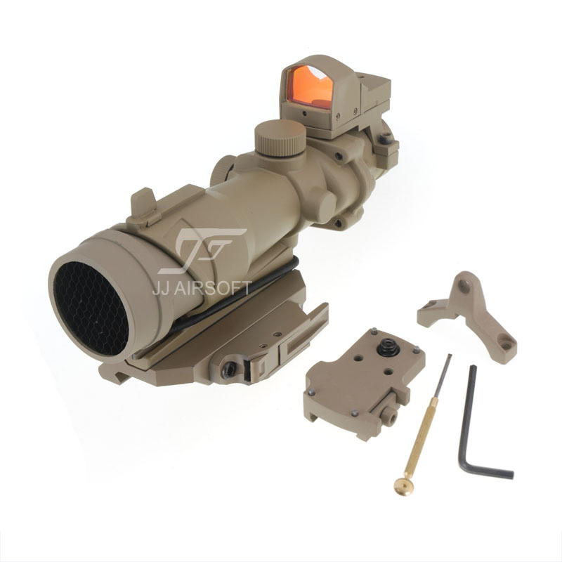 JJ Airsoft ACOG Style 4x32 Scope with Mini Red Dot and Killflash / Kill Flash , AC12033 Bobro Style Quick Release/QD Mount (Tan) jj airsoft t1 t 1 red dot 45 degree offset mount qd mount and low mount tan