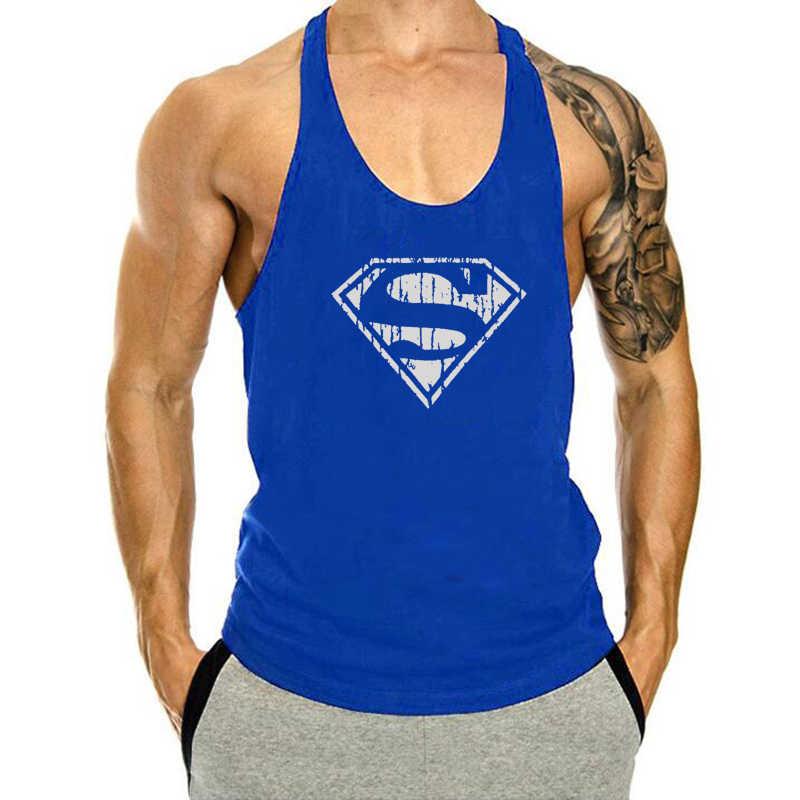 رجل سوبرمان خزان أعلى الجمنازيوم سترينجر Singlets اللياقة البدنية الملابس تجريب القطن قميص بدون أكمام الصيف قميص سترة الذكور