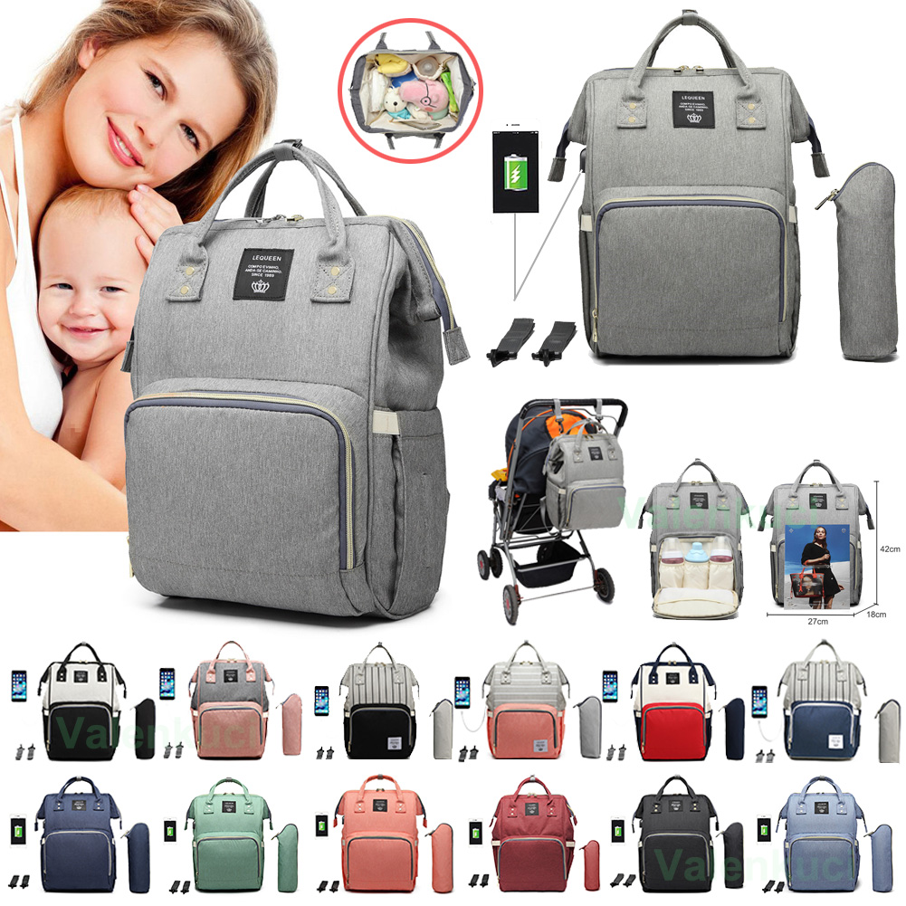 Lequeen Baby Diaper Bag With USB Interface Large Waterproof Nappy Bag Kits Mummy Maternity Travel Backpack Nursing Bag With Hook
