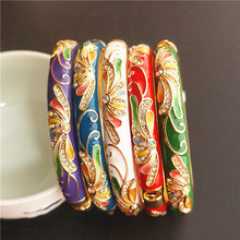 Colour Chinese Ethnic Big Bangles For Women Rhinestone Cloisonne Enamel Bangle Bracelet Fashion Jewelry birthday Gift
